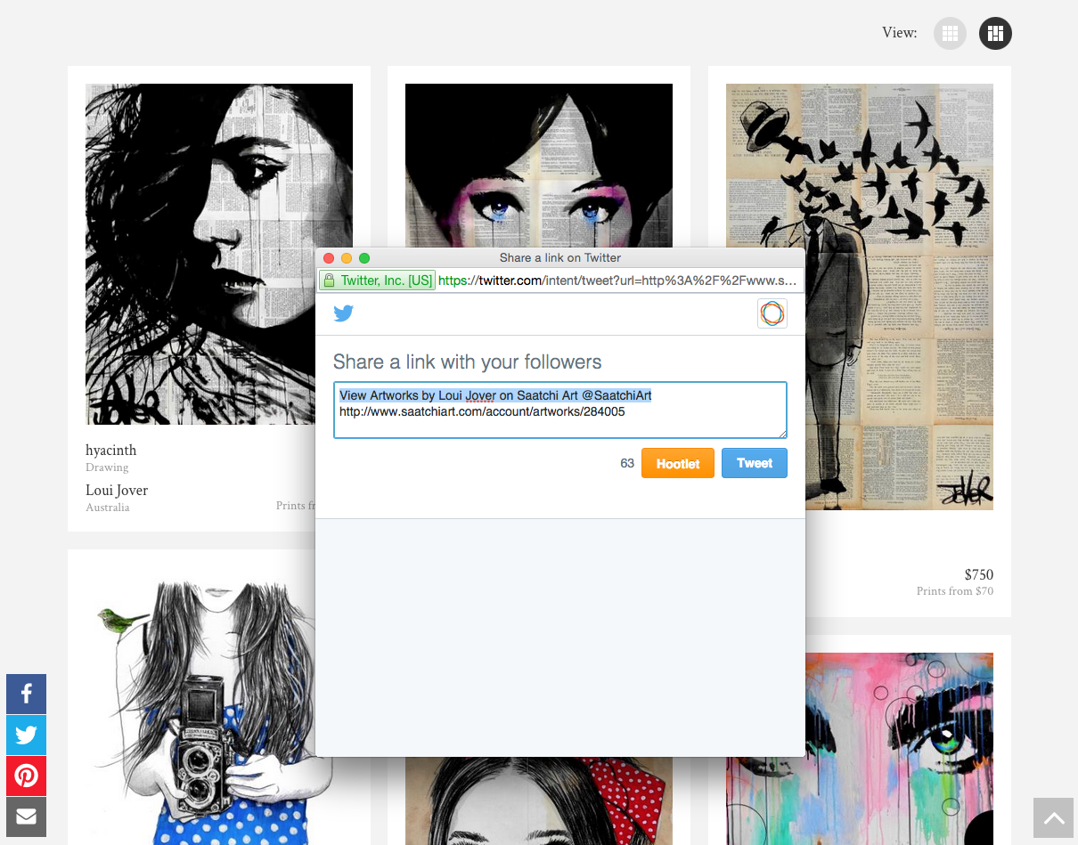 How do I share from my Saatchi Art portfolio to Twitter